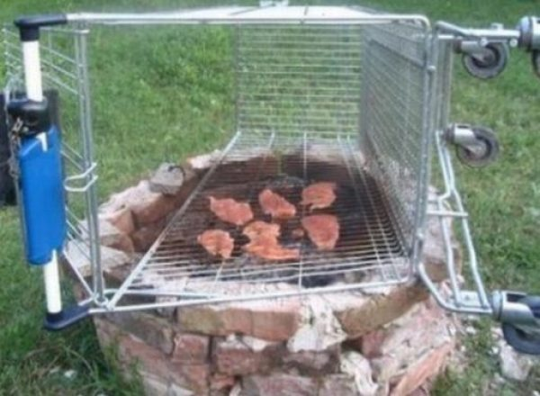 Shopping Trolley used as a BBQ