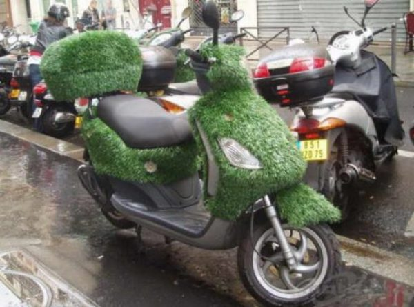 Piaggio Fly Covered in Grass