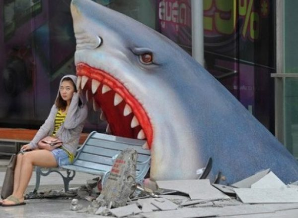 Shark Theme Park Bench