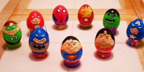 Super Hero Painted Easter Eggs