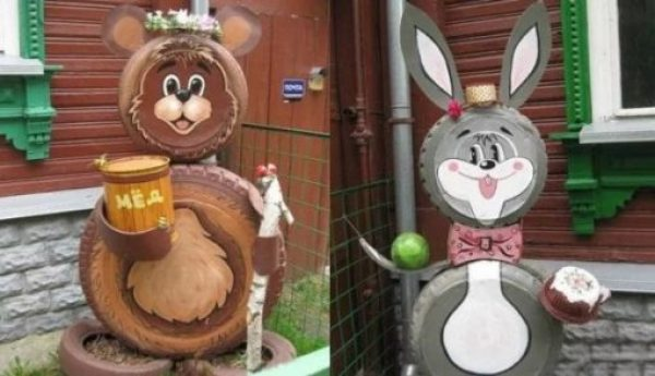 Old tyres recycled into cartoon characters
