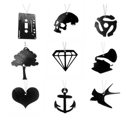 Jewellery made from vinyl record