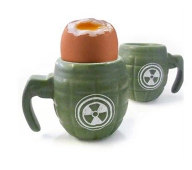 Grenade Military Style Set of 2 Egg Cups