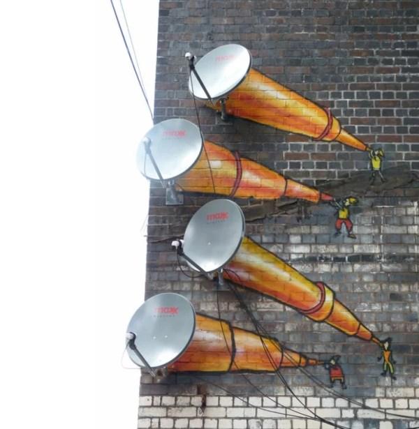 Telescope Effect Satellite Dish Art
