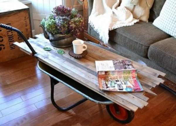 Wheelbarrow turned into a Coffee Table