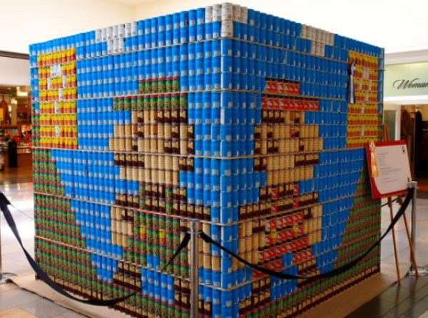 Super Mario Bros made with tins of food