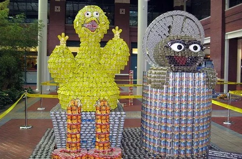 Big Bird and Oscar the grouch made with tins of food