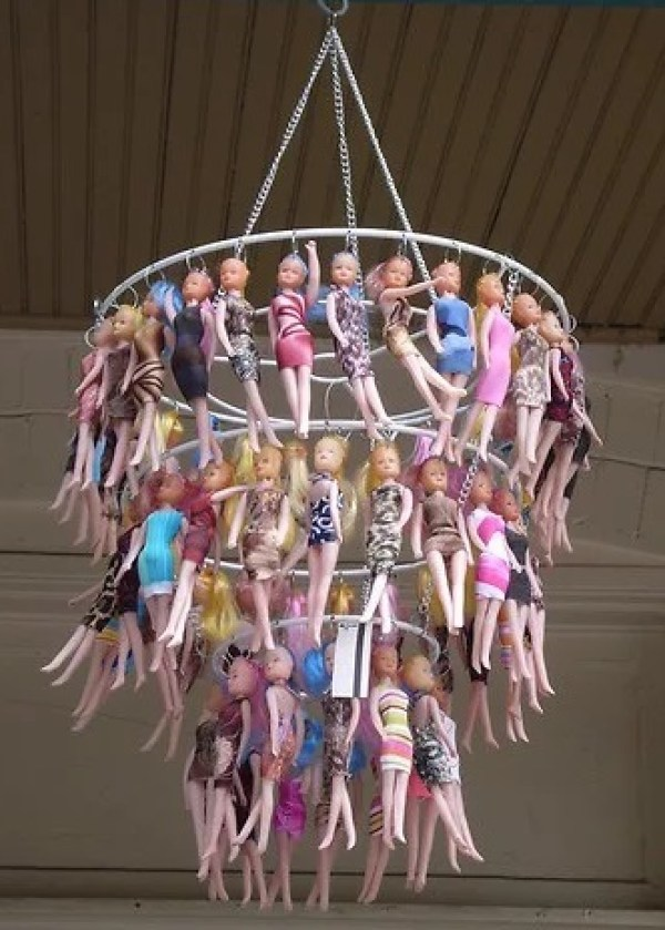 Chandelier made from Barbie dolls