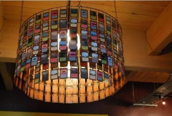 Chandelier made from Ink-Cartridges Magic Cards
