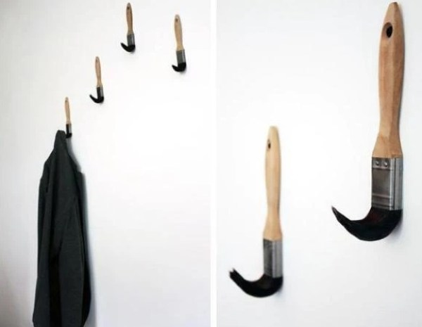 Old Paint Brushes used as a coat rack