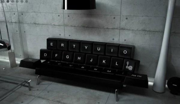 Computer keyboard inspired sofa