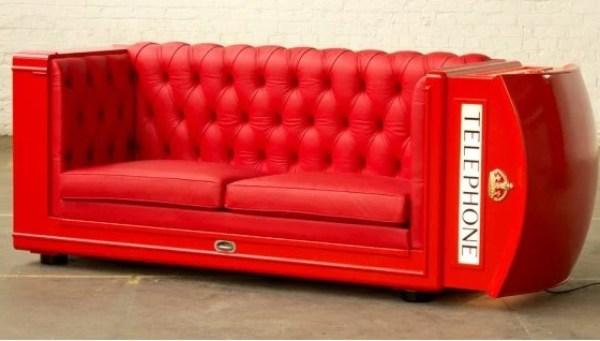 Red UK Phone Box Inspired Sofa