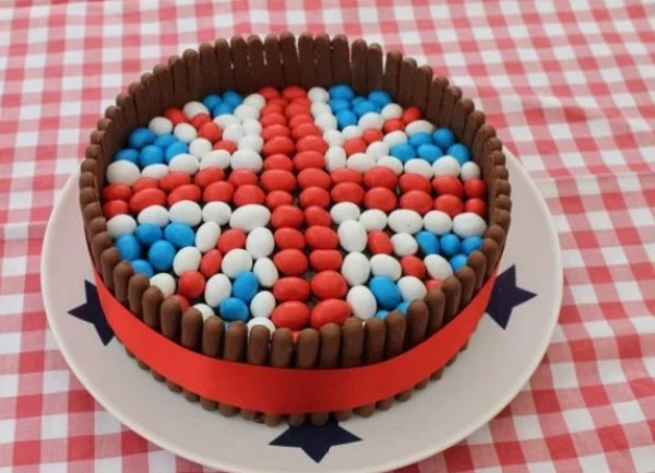 Chocolate Finger jubilee birthday cake with red, white and blue M&M's on top