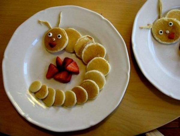 Caterpillar Made From Mini Pancakes