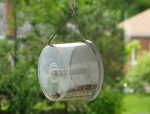 Empty Disk Spindles Turned into a Bird Feeder