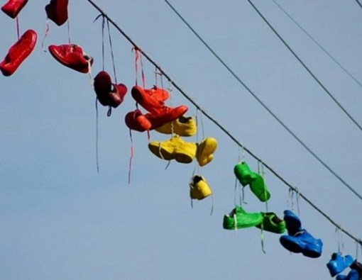 Shoe Tossing: Rainbow Coloured Shoes