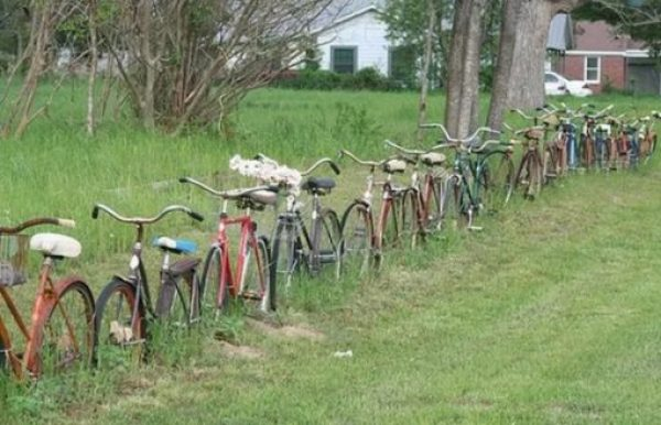 Bicycle Repurposed as a fence