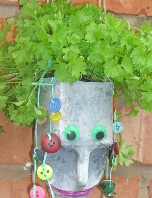 Wall Planter Made With an Empty Plastic Milk Bottle