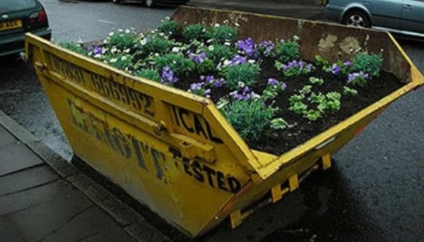 Refuse Skip made into garden
