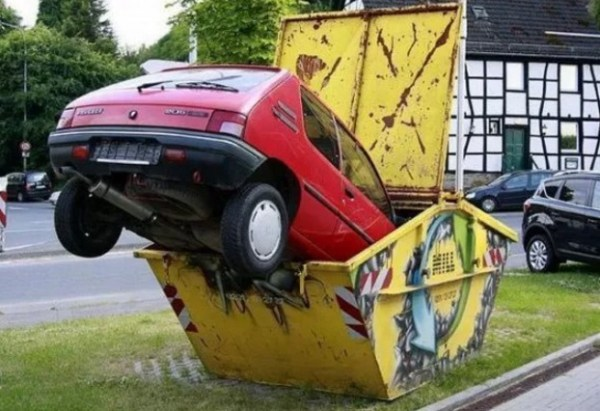 Refuse Skip made into car park