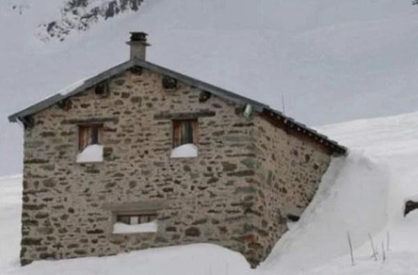 Snow on Building Looks Like a Face
