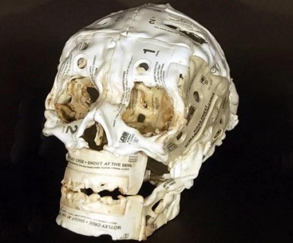 Skull Made From Cassette Tapes