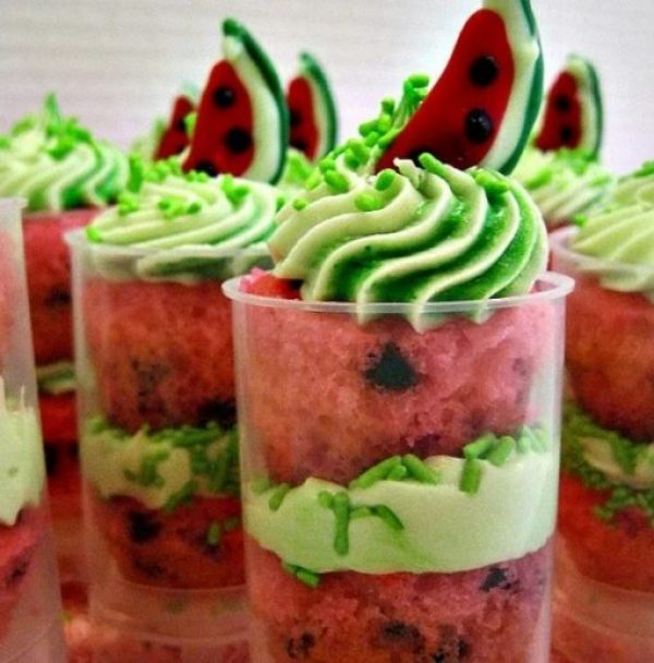 Watermelon Cupcake Push Up Pops