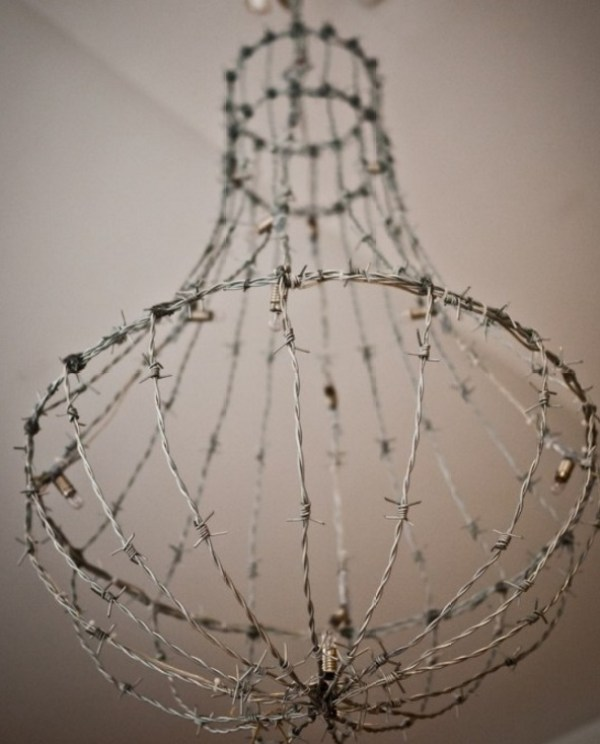 Chandelier made from Barbed Wire