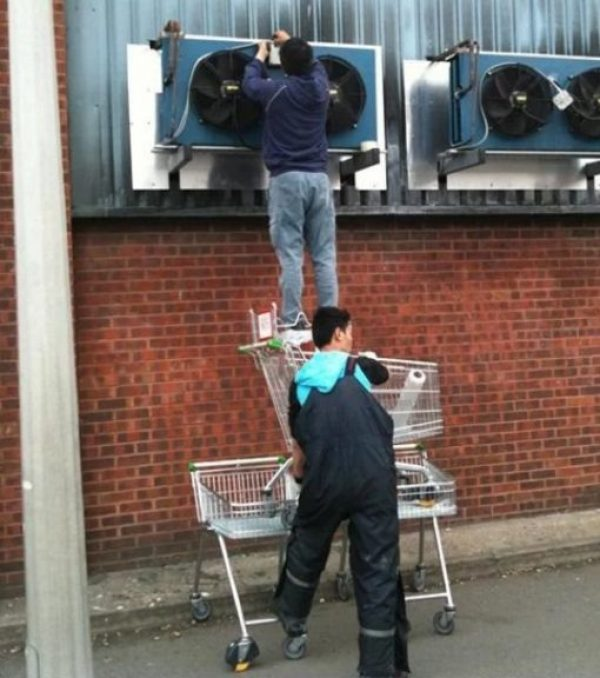 Who needs ladders when you have Shopping Trolleys