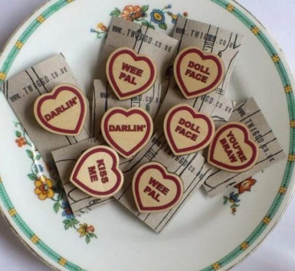 Wooden Love Heart Brooch