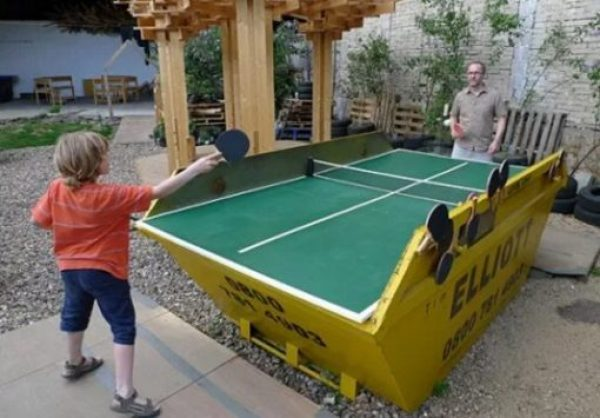 Skip made into a table tennis game