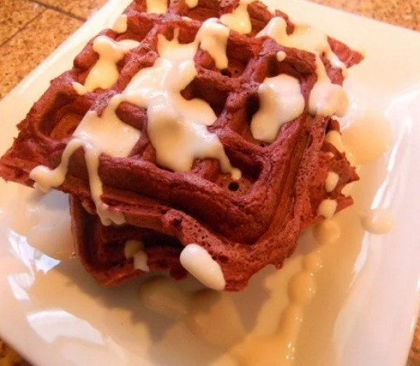 Whole Wheat Red Velvet Cake Waffles