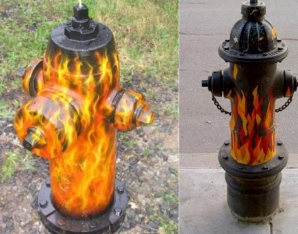 Art attacked fire hydrant: Fire theme
