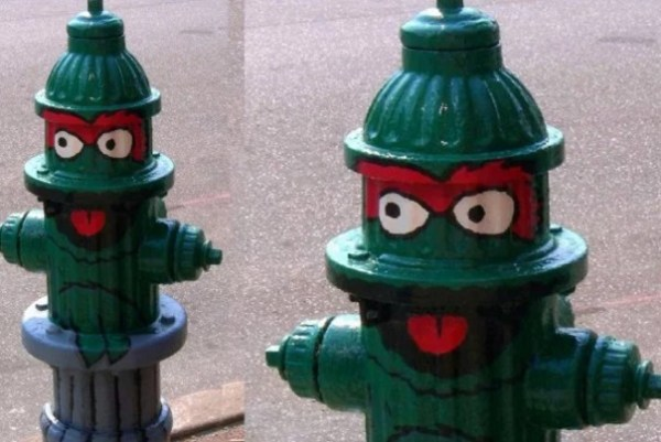 Art attacked fire hydrant: Oscar the grouch theme