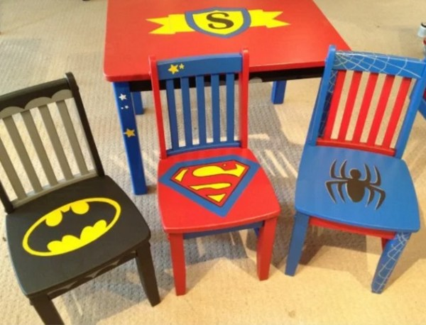 Super Hero inspired wooden painted chair