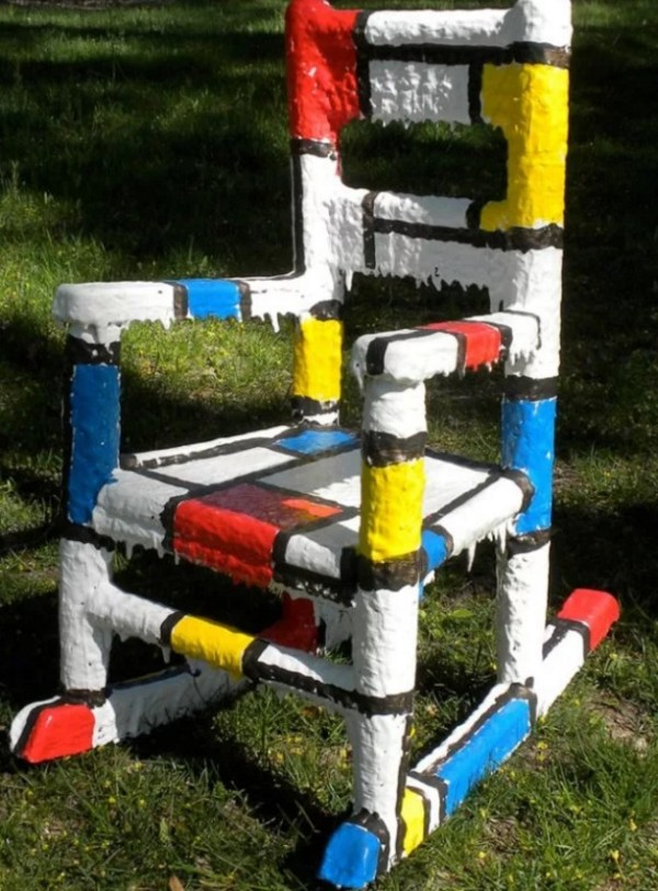 De Stijl inspired wooden painted chair