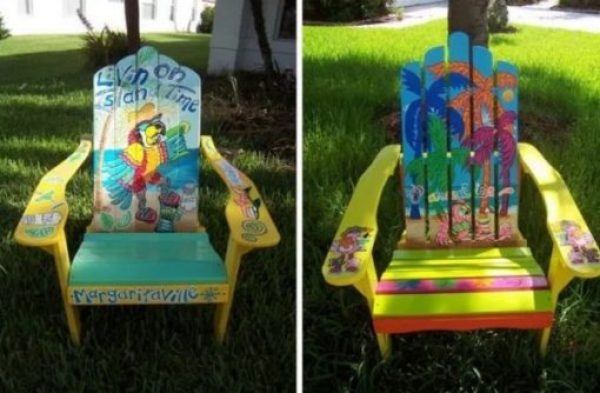 Summer inspired wooden painted chair