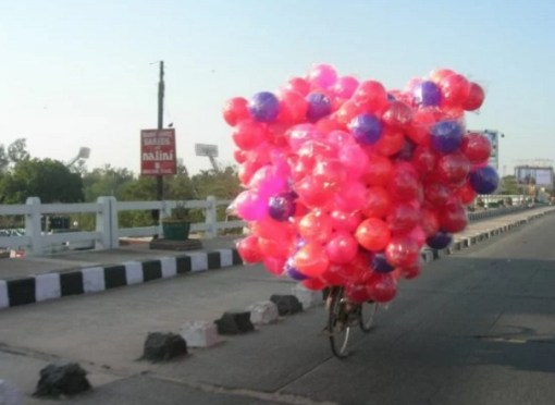 Bicycle Overloaded With coloured balls