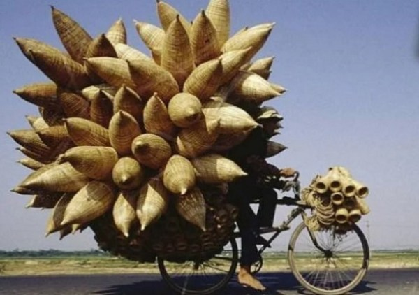 Bicycle Overloaded With Reed Baskets