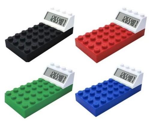 Calculator shaped like Lego
