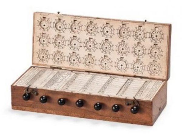old wooden calculator