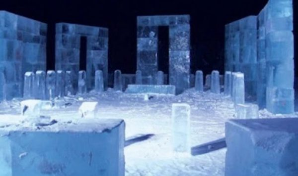 Ice placed as a replica of Stonehenge