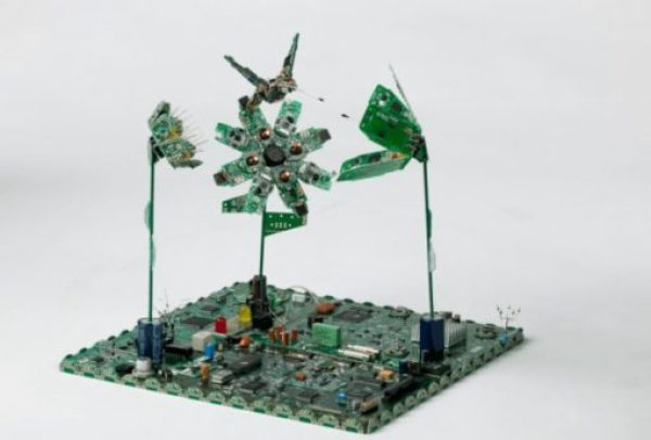 Humming bird feeding made with Printed circuit boards (PCB)