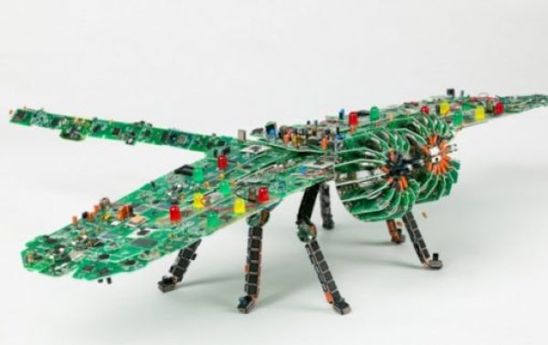 Dragonfly made with Printed circuit boards (PCB)