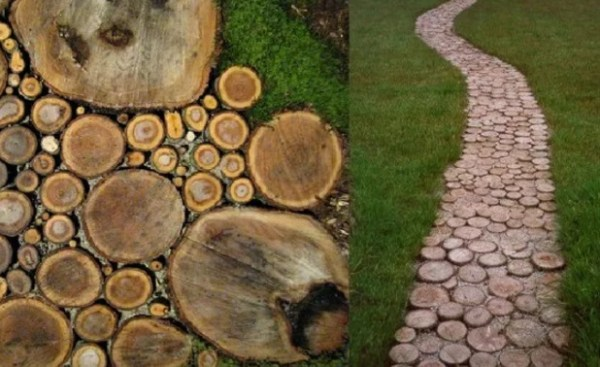 Garden path made of sliced wood