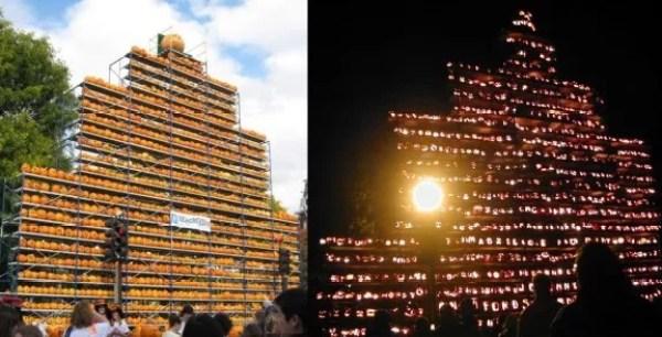 Art installation made of pumpkins