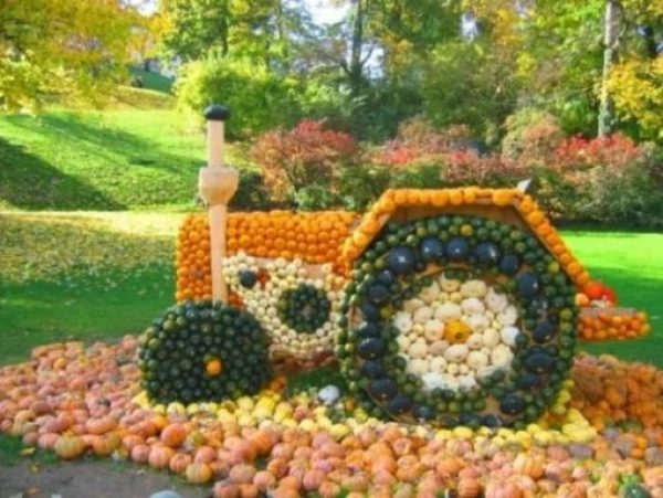 Tractor art installation made of pumpkins