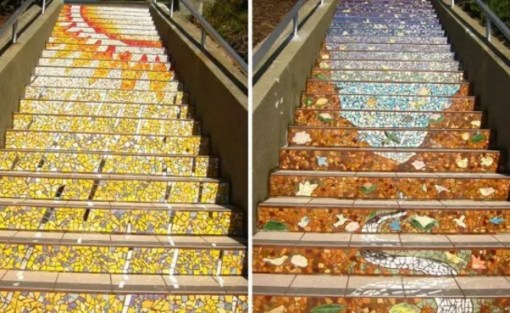 Mosaic artwork on stairs
