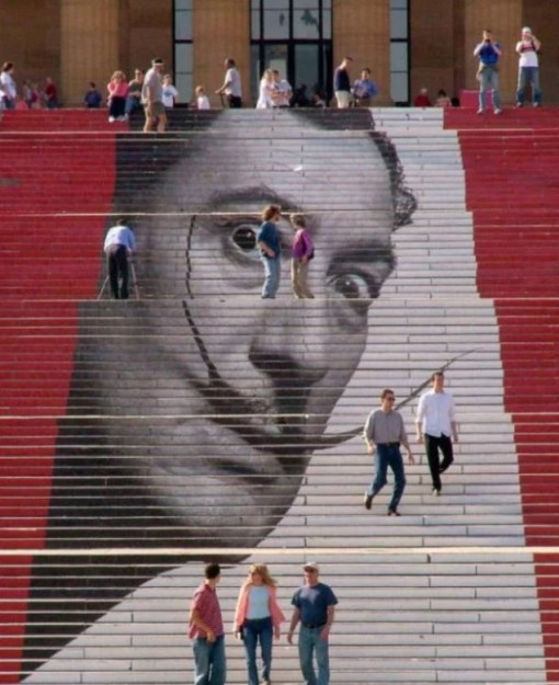 Salvador Dali inspired artwork on stairs