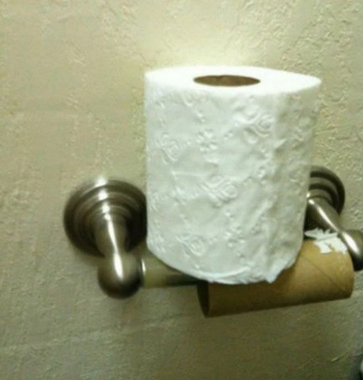 Too lazy to change the toilet roll